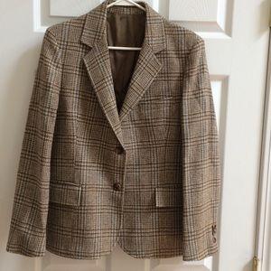 Vintage plaids wool blazer jacket M brown blue